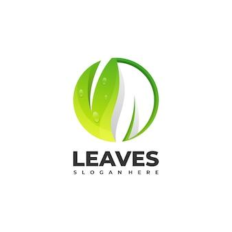 Szablon logo kolorowy styl liści gradientu