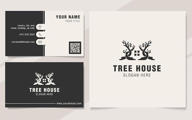 Szablon logo kombinacji domu i drzewa