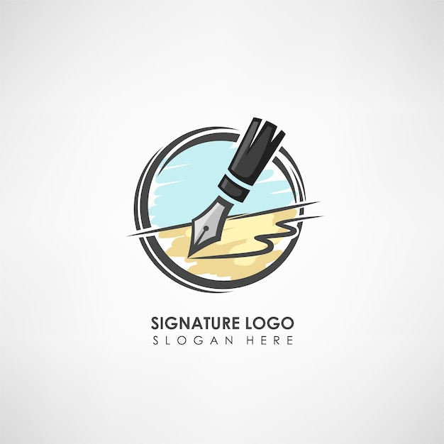 Szablon logo koncepcja podpisu z piórem rysunek.