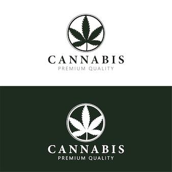Szablon logo konopi z liściem marihuany w kółku.
