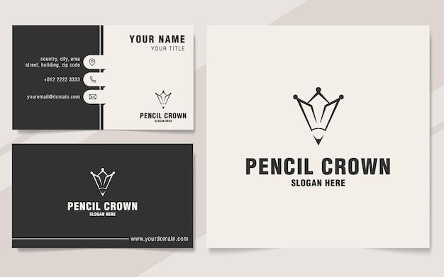 Szablon logo korony ołówka w stylu monogramu