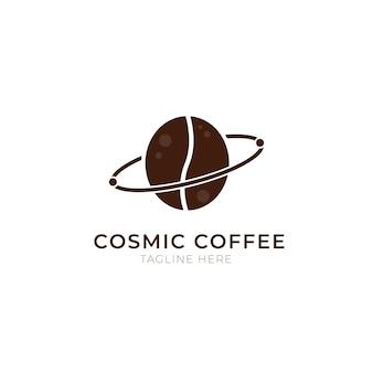 Szablon logo kosmicznej kawy. nowoczesne etykiety kawiarni vintage. ilustracja wektorowa