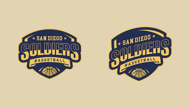 Szablon Logo Koszykówki żołnierzy Premium Wektorów