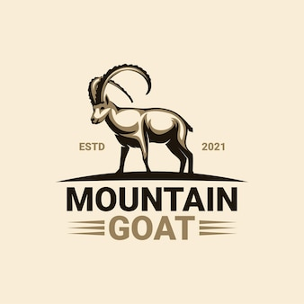 Szablon logo kozła górskiego premium