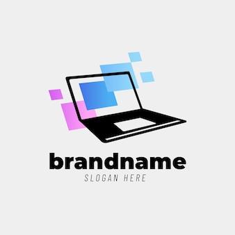 Szablon logo kreatywnego gradientowego laptopa