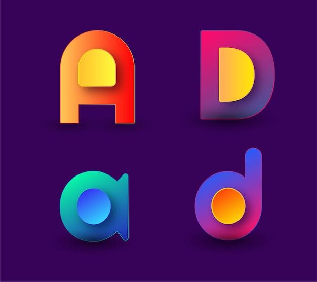 Szablon logo kreatywnego listu reklamowego początkowy szablon logo gradientowego monogramu listowego