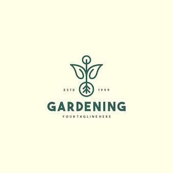 Szablon logo kreatywnego ogrodnictwa