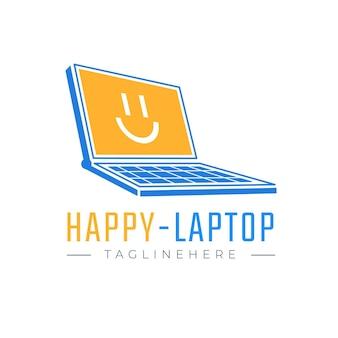 Szablon logo kreatywnego płaskiego laptopa