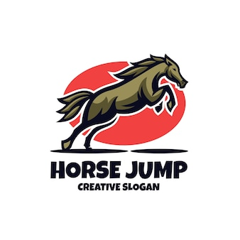 Szablon logo kreatywnego skaczącego konia jeździeckiego