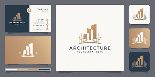 Szablon logo kreatywnej architektury z projektem wizytówki. budownictwo, budowniczy, inspiracja.