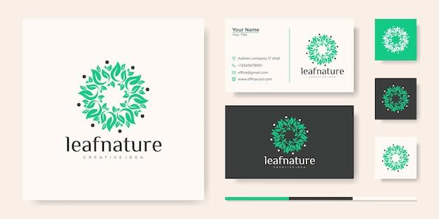 Szablon logo kreatywny pomysł liść natury i wizytówka
