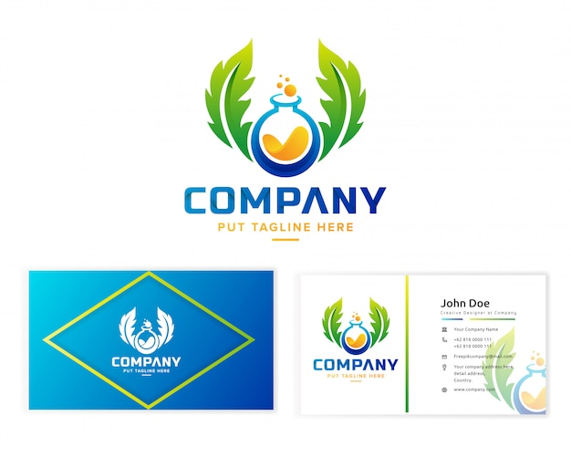 Szablon logo kreatywnych kolorowe laboratorium naukowe