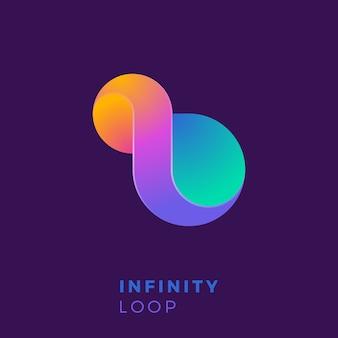 Szablon logo kreatywnych kolorowe nieskończoności.