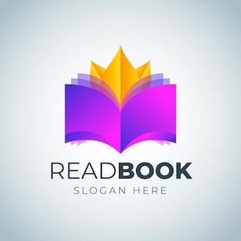 Szablon logo kreatywnych książki gradientu