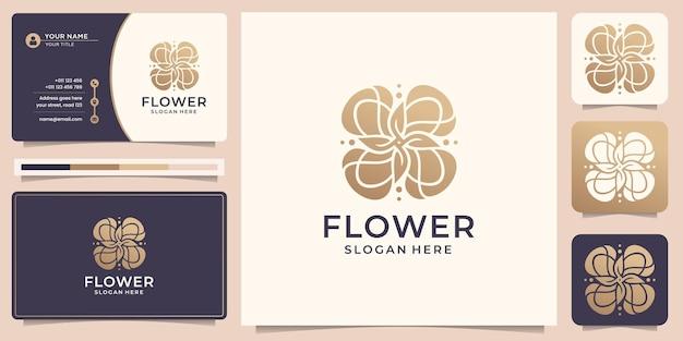 Szablon logo kreatywnych kwiatów róży luksusowe różowe złoto i projekt wizytówki wektor premium