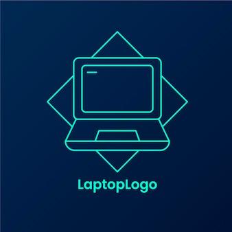Szablon logo kreatywnych liniowych płaskich laptopów