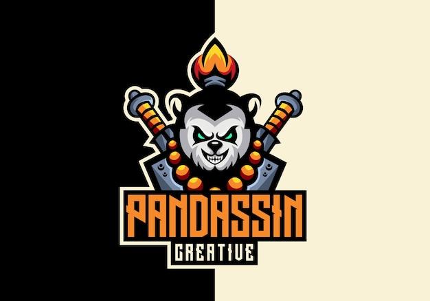 Szablon logo kreatywnych niesamowitych maskotek panda sport