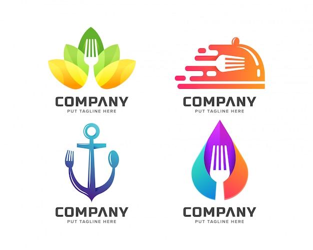 Szablon logo kreatywnych widelec