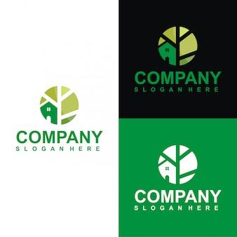Szablon logo kreatywnych zielony dom