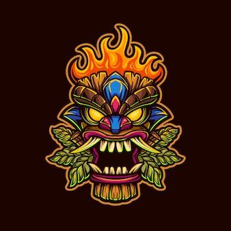 Szablon logo kreskówka maska głowy tiki z ilustracją ognia. gry z logo e-sportu