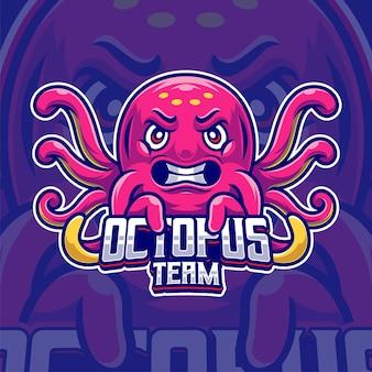 Szablon logo kreskówka maskotka ośmiornicy