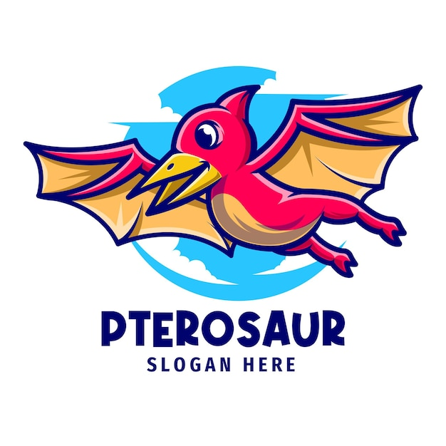 Szablon logo kreskówka maskotka pterozaury