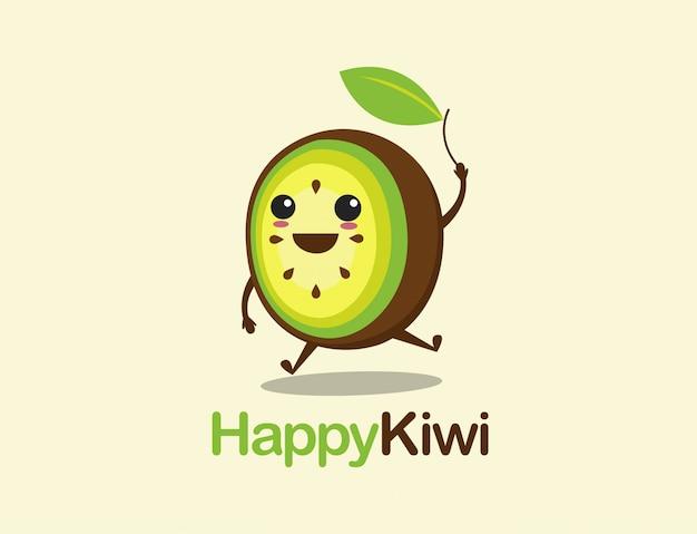 Szablon logo kreskówka szczęśliwy kiwi