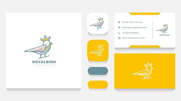 Szablon logo królewskiego ptaka i wizytówka