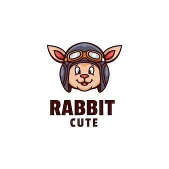 Szablon logo królika ładny prosty styl maskotki