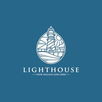 Szablon logo kropla wody w latarni morskiej