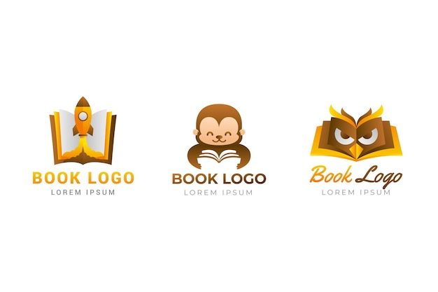 Szablon logo książki gradientu w odcieniach brązu