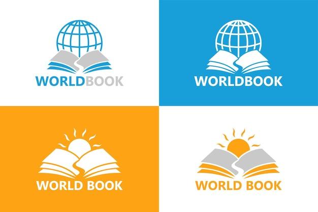 Szablon logo książki świata premium wektor