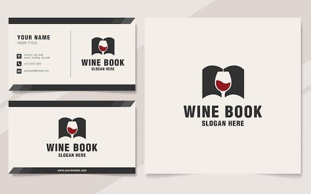 Szablon logo książki wina w stylu monogram