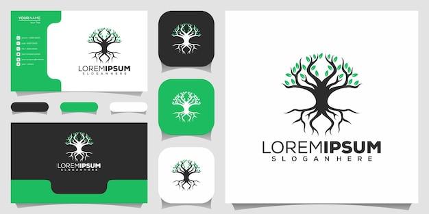 Szablon logo kształt drzewa z wizytówką