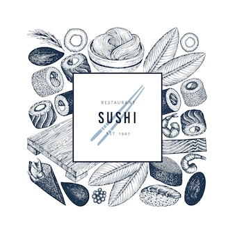 Szablon logo kuchni japońskiej. ilustracje wektorowe ręcznie rysowane sushi. styl retro