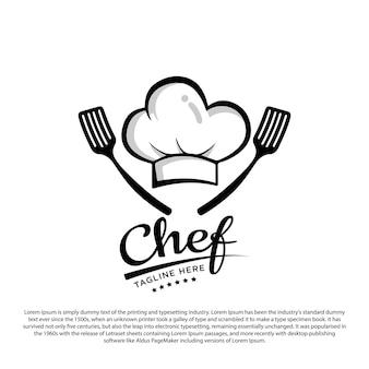 Szablon logo kuchni szefa kuchni czapka szefa kuchni i ilustracja wektorowa łopatki