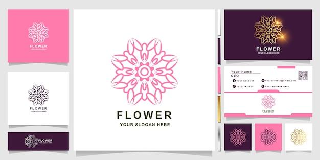 Szablon logo kwiat, butik lub ornament z projektem wizytówki. może być używany do projektowania logo spa, salonu piękności lub butiku.