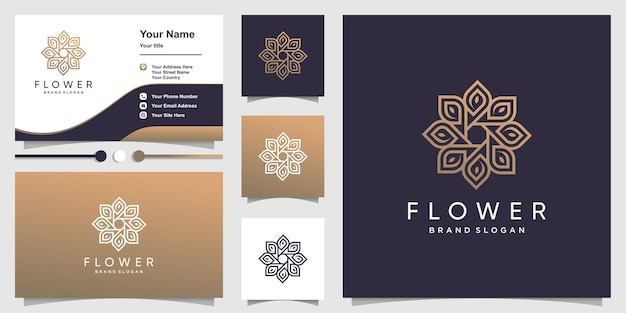 Szablon logo kwiat i wizytówki
