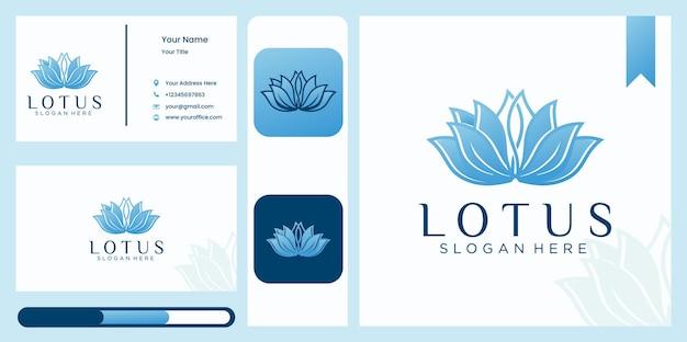 Szablon logo kwiat lotosu w stylu liniowym i wizytówka