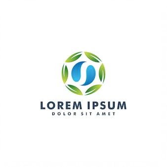 Szablon logo kwiatowy, logotyp ikona zielony charakter laef