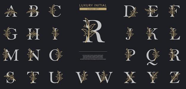 Szablon logo kwiatowy pierwsza litera
