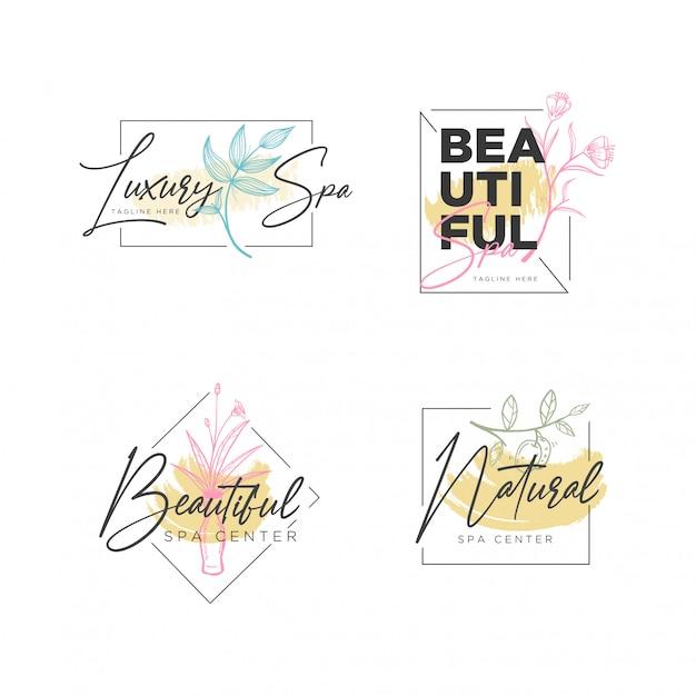 Szablon logo kwiatu botanicznej ramki