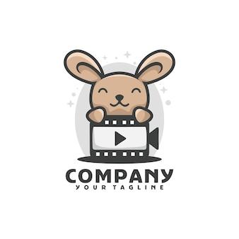 Szablon logo ładny królik