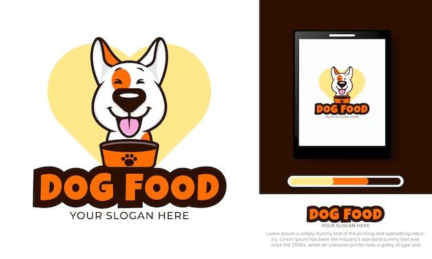Szablon logo ładny pies jedzenie