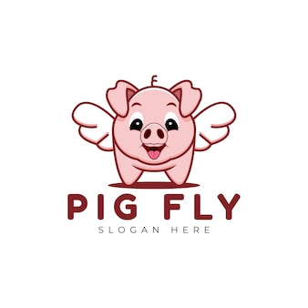 Szablon logo ładny pig fly