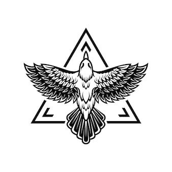 Szablon logo latającego ptaka