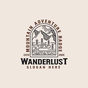 Szablon logo lineart górskiej przygody