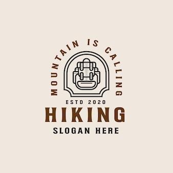 Szablon logo lineart wędrówki górskiej przygody