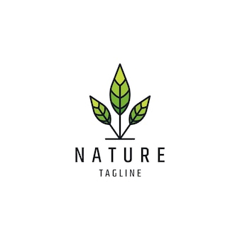 Szablon logo linii drzewa liści