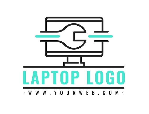 Szablon logo liniowego płaskiego laptopa